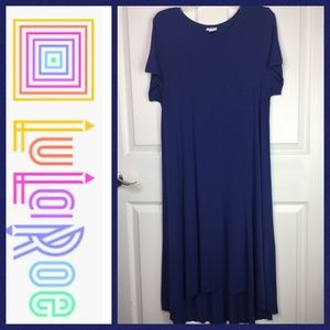 ❄️ LulaRoe Carly Swing Dress Sz M 10-12 Solid Blue